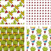 Set Seamless pattern of cacti and succulents in pots. vector