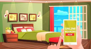 Banner de reserva de hotel online. Interior de habitación moderna para el descanso. Ilustración vectorial de dibujos animados