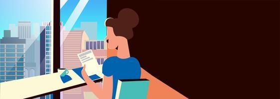 Sfondo per la bandiera di un caffè, una caffetteria e un ristorante. Una ragazza è seduta in un'istituzione con vista sulla città. Illustrazione piatta vettoriale.