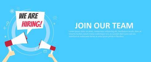 We are hiring banner. Join our team. Blue background and hands holding a megaphone. Vector flat illustration