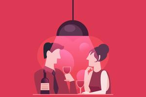 A fast date of a couple in love. Evening dinner with wine. Stylish pink red illustration in flat