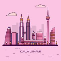 Illustrazione moderna piana di vettore dell'orizzonte della città di Kuala Lumpur