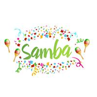 Poster for brazil dance Samba on carnival in RIo. Confetti around the inscription. Vector illustration