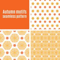 Set orange abstract seamless pattern  vector