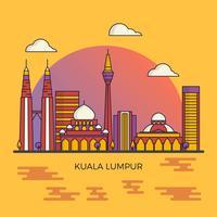 Illustrazione piana moderna pulita di vettore dell'orizzonte della città di Kuala Lumpur Malesia
