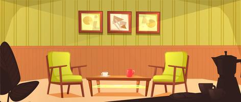 L'interno della sala mensa. Design retrò della poltrona e tavolino con tazze. Mobili in legno in un caffè. Illustrazione di cartone animato vettoriale