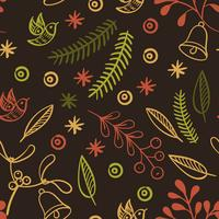 Retro hand drawn winter holidays seamless patterns