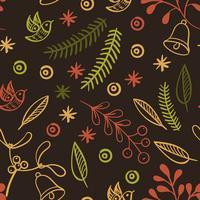 Retro Hand gezeichnete nahtlose Muster der Winterferien