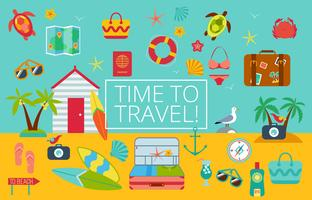 Flat icons set of traveling