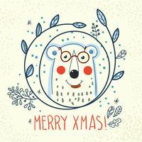 Polar Bear hipster inside a wreath of hand drawn