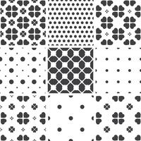 Set of monochrome geometric seamless universal patterns, tiling.