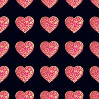 Seamless gold pattern with hearts.