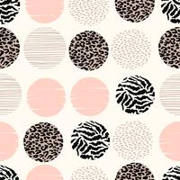 Abstract geometric seamless pattern with animal print and circles.