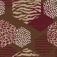Abstract geometric seamless pattern with animal print and hexagons.