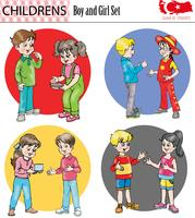 Boy and girl character set, vector, eps