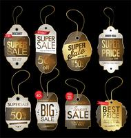 Paper price tag retro vintage golden style design vector collection