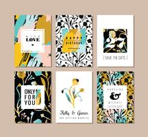Set of abstract creative cards. Hand drawn art texture and floral elements.
