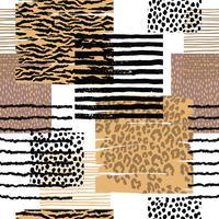 Abstrakt sömlöst mönster med djurtryck. Trendiga handdragen texturer