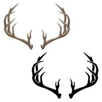 Antler Vector Illustration in both Color and Black Line Art