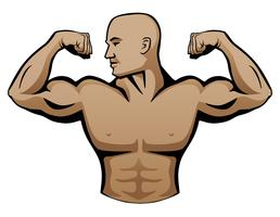 Male Body Builder Logo Vector Illustration