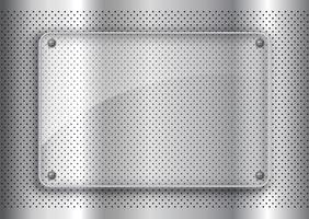 Glass plate on perforated metal background background