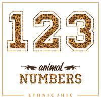 Vector números de animales para camisetas, carteles, tarjetas y otros usos.
