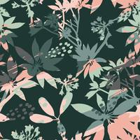 Abstract floral seamless pattern silhouettes of leaves and artistic background.