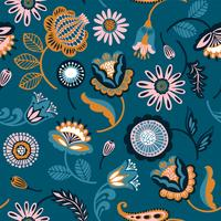 Folk floral seamless pattern.