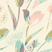 Abstract floral seamless pattern tulips .Trendy hand drawn textures vector