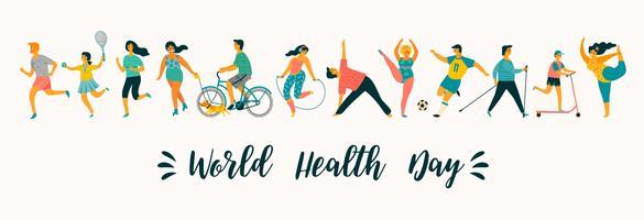 Journée mondiale de la santé. Illustration vectorielle de personnes menant une vie saine et active.