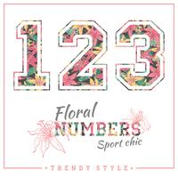 Vector floral numbers for t-shirts, posters, card and other uses.