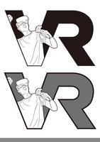 Plantilla del ejemplo del diseño del vector de la plantilla del vector del logotipo de VR