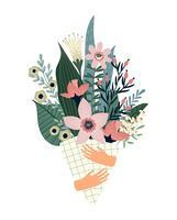 Ilustración vectorial ramo de flores. Plantilla de diseño para tarjeta, cartel, flyer.