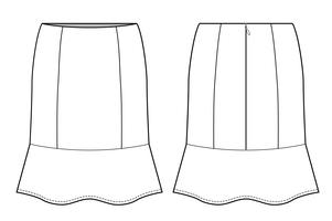 SKIRT Fashion technical drawings vector template