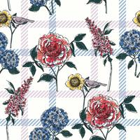 Floral seamless pattern with plaid background.