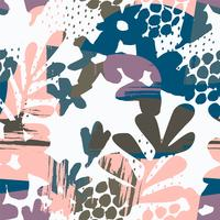 Abstract floral seamless pattern with hand drawn textures.