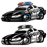 Illustration vectorielle de police muscle voiture dessin animé
