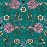 Victorian garden. Floral seamless pattern. Vector illustration.