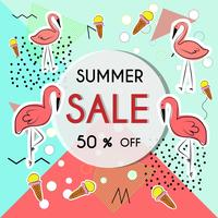 Summer pattern background with fruits and floral elements