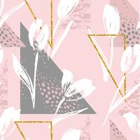 Tulipes de modèle sans couture florale abstraite. Textures dessinées à la main Tendance