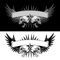 Skull wings with banner tattoo style vector graphic