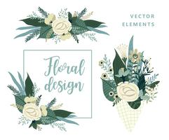 Vector templates with flowers. Design for card, poster, banner, invitation, wedding, greeting.