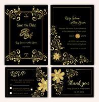 Vector conjunto de tarjetas de invitación con elementos de flores Colección de boda