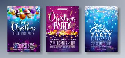 Merry Christmas Party Flyer Illustration