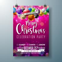 Merry Christmas Party Design with Multicolored Ornamental Balls