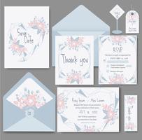 carte d'invitation de mariage avec des modèles de fleurs