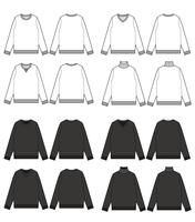 SWEATER TOP  SET Fashion technical drawings flat Sketches vector template