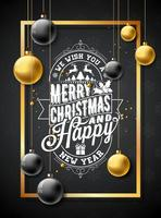 Merry Christmas Illustration on Black Snowflake Background