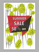 Vector summer pattern background with floral elements