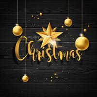 Christmas illustration with gold glass balls on vintage wood background